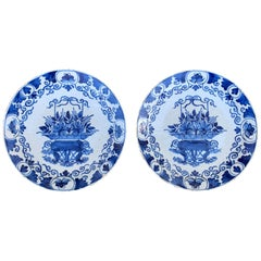 Pair of 18th Century Blue and White Porcelain Plates