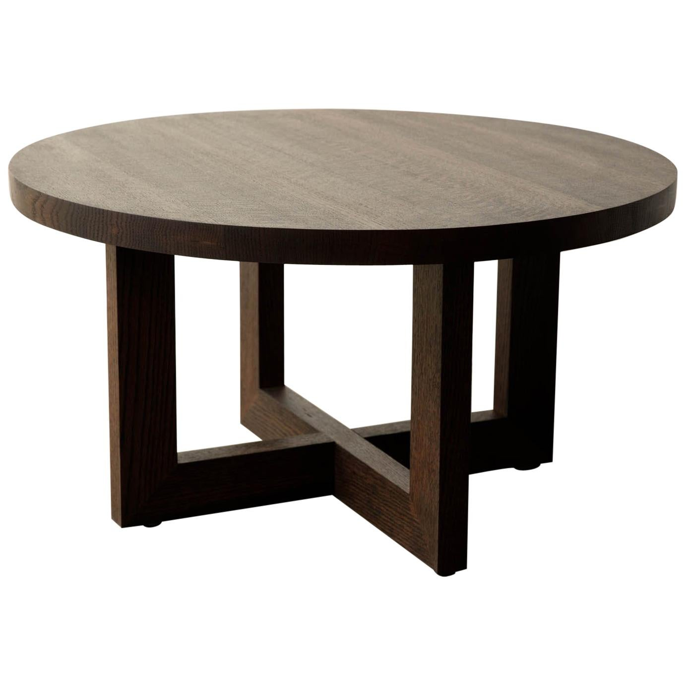 Round Wood Coffee Table in Dark Stained Urban Oak