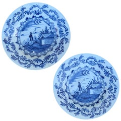 Pair of 18th Century Delft Style Blue & White Plates with Fisherman