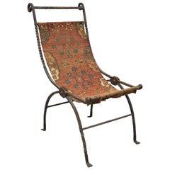 19th Century Hand Wrought Iron Renaissance Savonarola Carpet Sling Side Chair