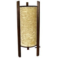 Mid-Century Modern Tri Leg Woven Cylinder Table Lamp after Noguchi or Modeline