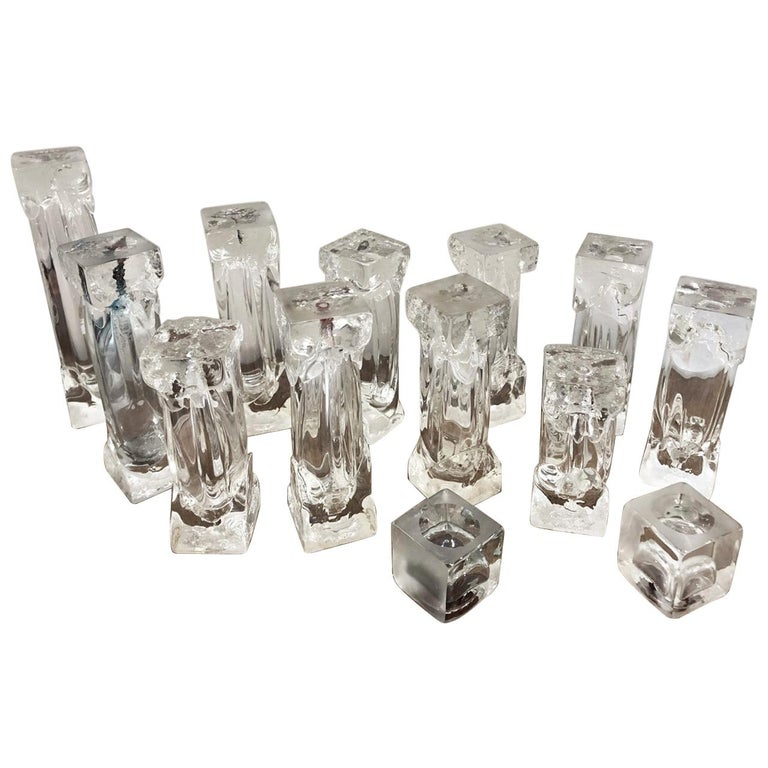 Set of Glass Candlesticks or Sculptures For Sale
