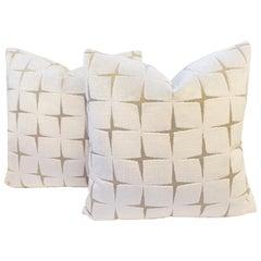 Small Throw Pillows in Cut Velvet Diamond Pattern