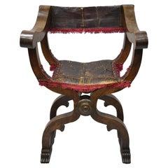 19th Century Italian Renaissance Savonarola Walnut and Leather Armchair