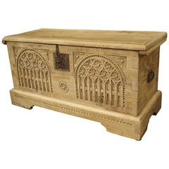 Antique Gothic Style Carved Oak Trunk, circa 1900