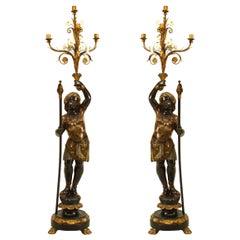Paar italienische venezianische Schaubudenbesitzers Figuren Leuchter