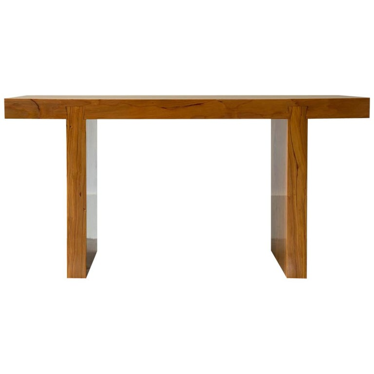Asian Inspired Solid Wood Bench in Hemlock for Entry Bench or End of Bench Bench For Sale