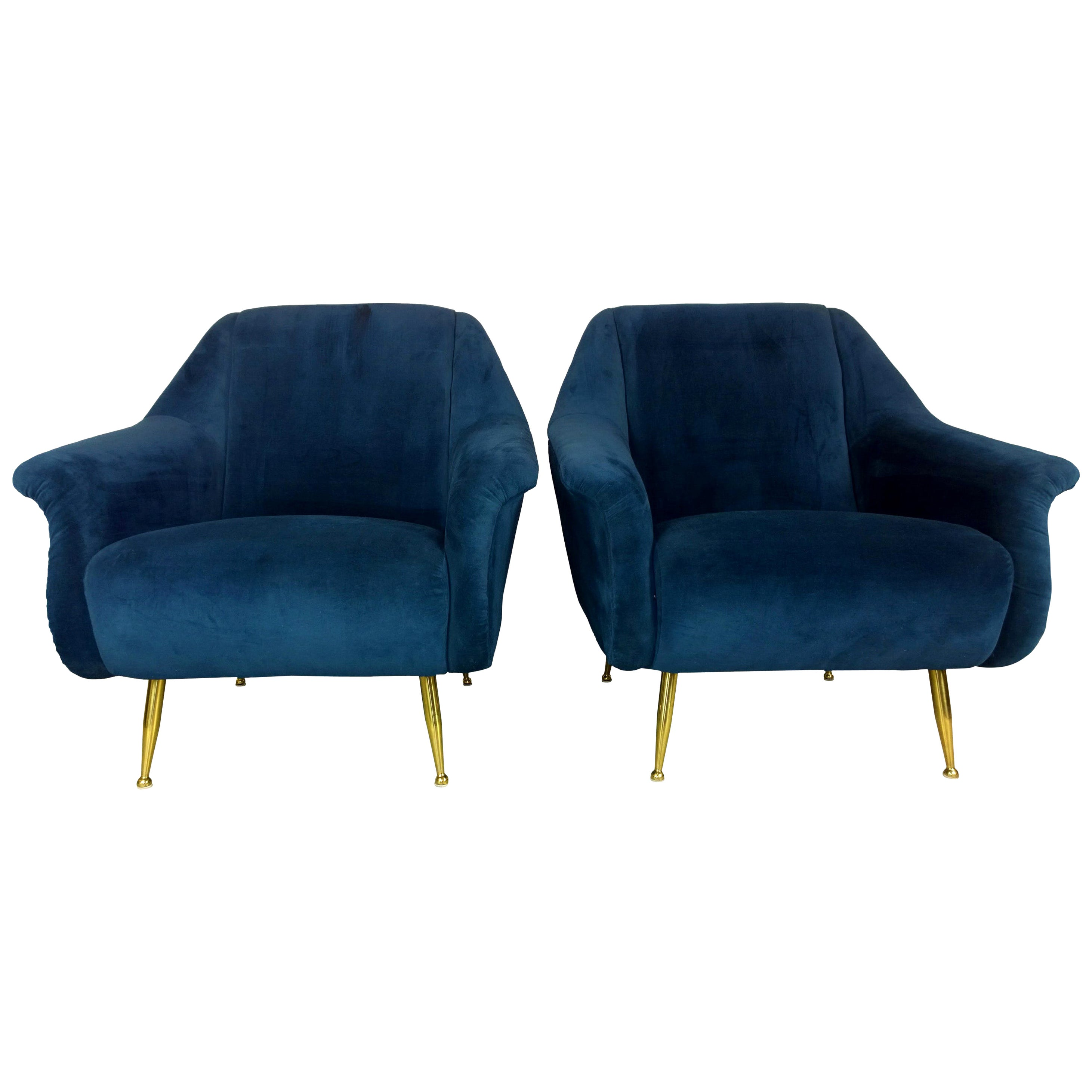 Pair of Zanuso Style Navy Blue Velvet and Brass Legs Lounge or Armchairs