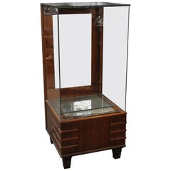 1930s Art Deco Walnut Four Sided Glass Show Case or Display Case