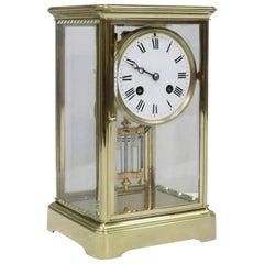 French Belle Époque Brass Four Glass Mantel Clock