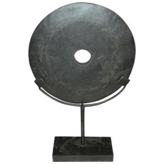 Black Stone Disc Sculpture, China, Contemporary