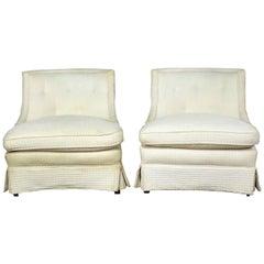 Paar Slipper Stühle, Art Deco, Hollywood Regency