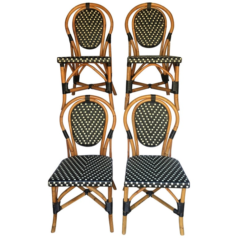 French Style Parisian Cafe Bistro Rattan Dining Chairs For Sale