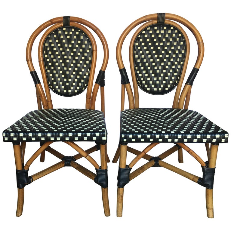 French Style Parisian Cafe Bistro Rattan Dining Chairs, Set of Two For Sale