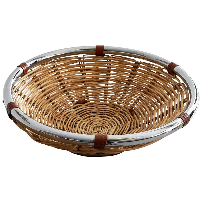 Wicker and Leather Bowl For Sale