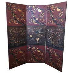 19th Century Chinoiserie Leather Screen