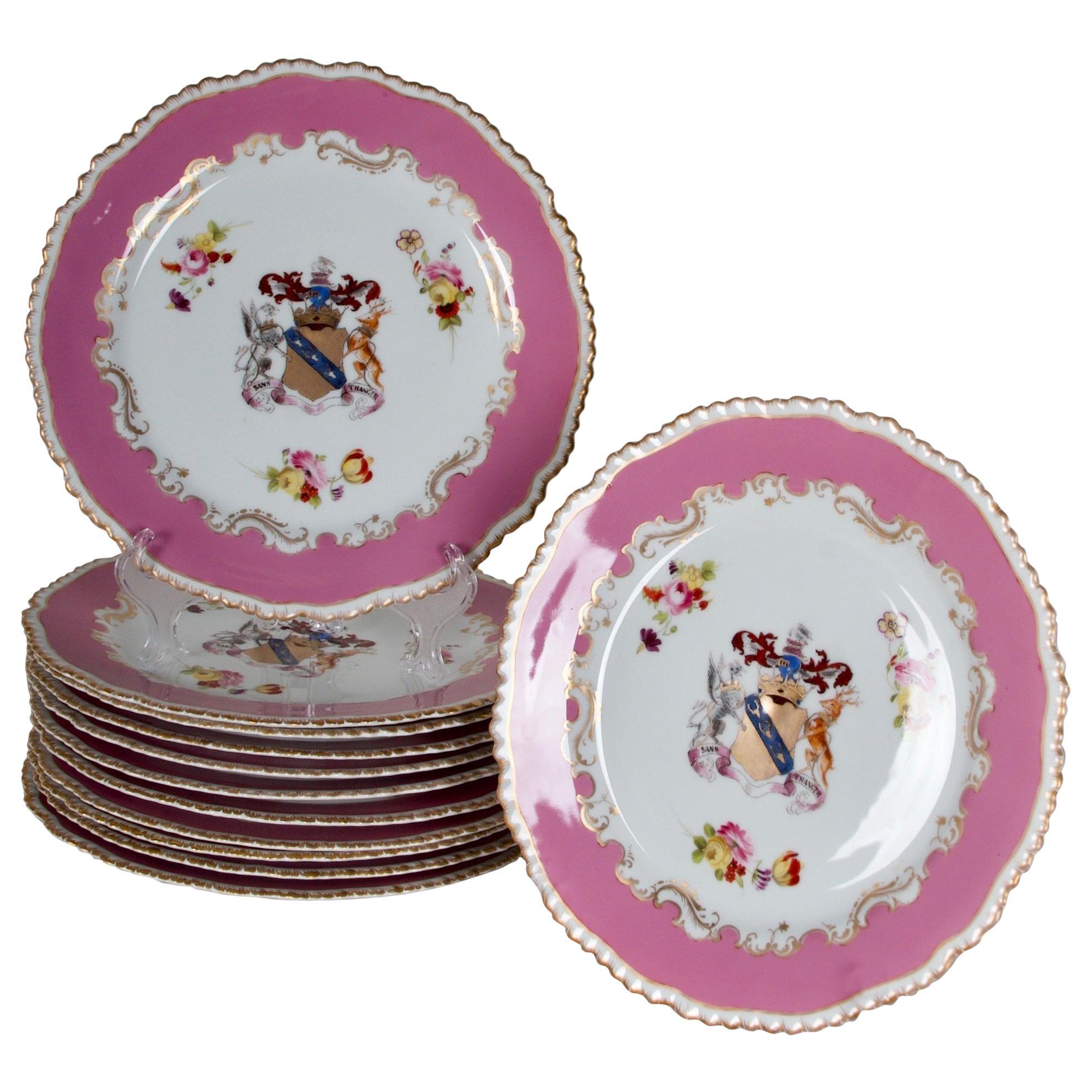 1830 Rockingham Porcelain Dinner Plates, set of 12