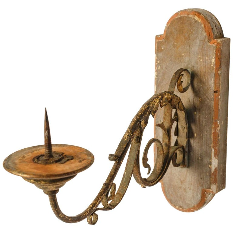 Exquisite Wood and Iron Sconce For Sale