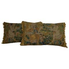Pair of Antique Flemish Tapestry Pillows, circa 17th Century, 1717p 1718p