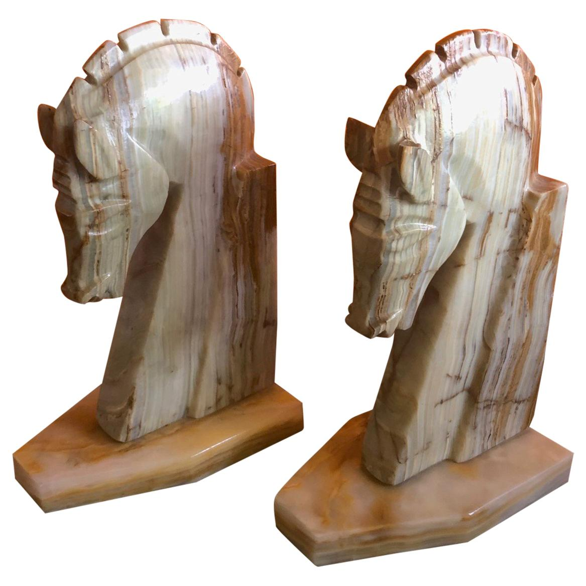 Pair of Midcentury Marble Horse Head Bookends