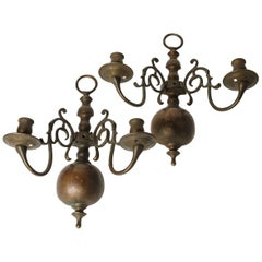 Pair of Large Bronze Two-Arm Sconces