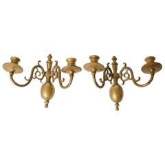 Pair of Smaller-Scale Brass Sconces