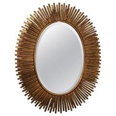 Italian Midcentury Gilt Metal Oval Mirror