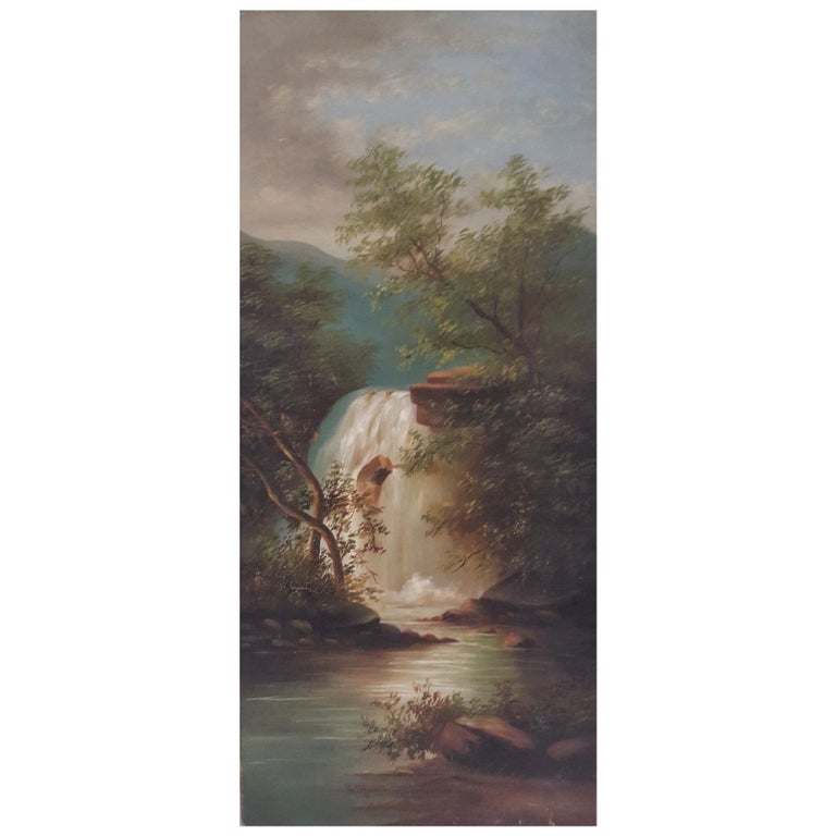 20th Century Oil on Canvas of Romanticized, Woodland Waterfall For Sale