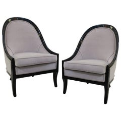 Pair of Ebonized Spoon Back Chairs