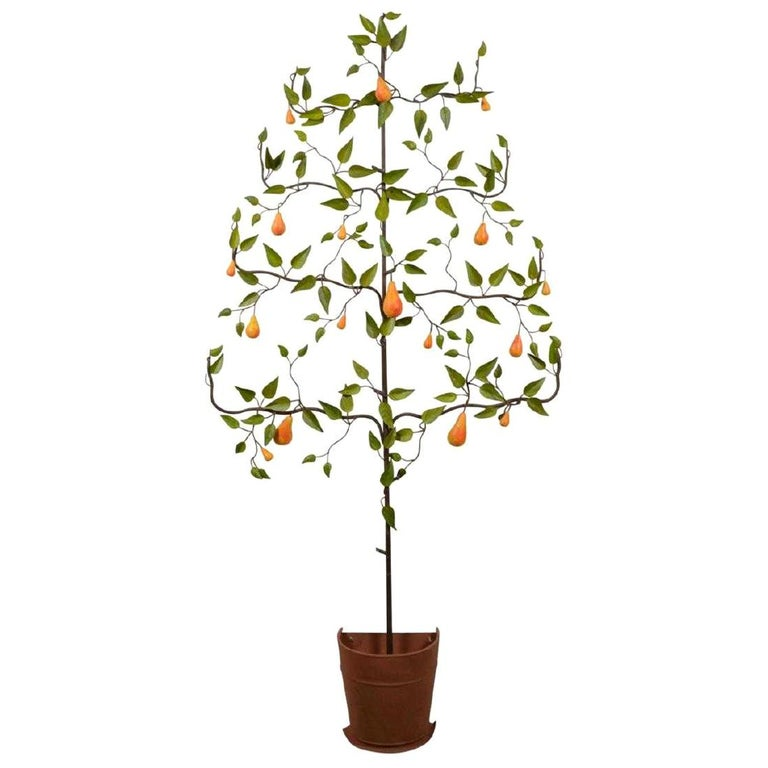 Italian tole pear tree, 1940, offered by Joan Bogart Antiques
