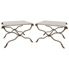 Pair of Italian X-Form End Tables with Ram's Head Accents and Travertine Tops