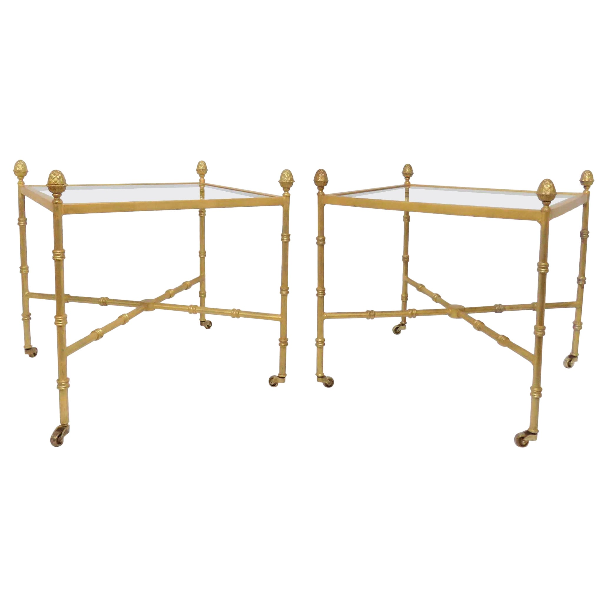 Pair of Maison Baguès Style Gilt End Tables with X-Stretchers and Acorn Finials