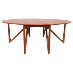 Kurt Ostervig Danish Teak Gate Leg Drop-Leaf Oval Dining Table, circa 1960s