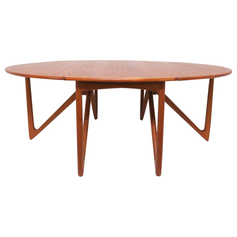 Kurt Ostervig Danish Teak Gate Leg Drop-Leaf Oval Dining Table, circa 1960s For Sale