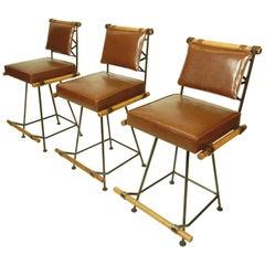 California Modernism Wood Iron Bar Counter Stools Cleo Baldon