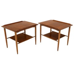 Pair of Rectangular Two-Tier Rolled Edge Top Walnut End Table with Shelf