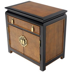 Black Lacquer Burl Wood Brass Hardware 1 Drawer Double Door Compartment Stand