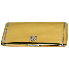 French 18-Karat Gold and Diamonds Ladies Cigarette or Card Case, circa 1920