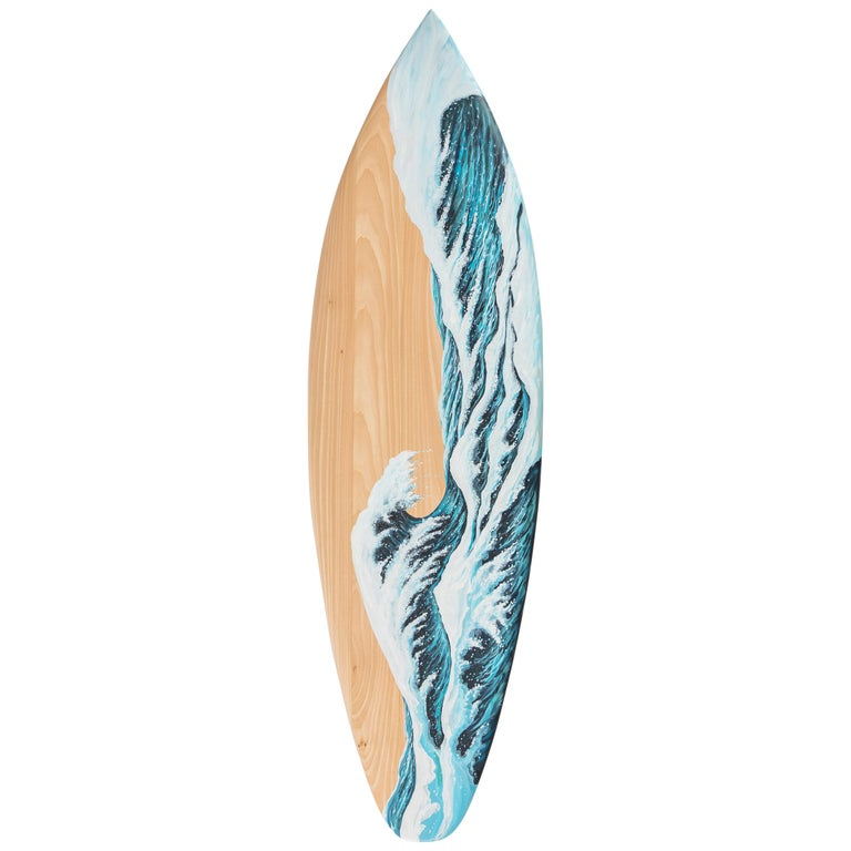 Hand Painted Wooden Motus Surf Bench with Marble Legs For Sale