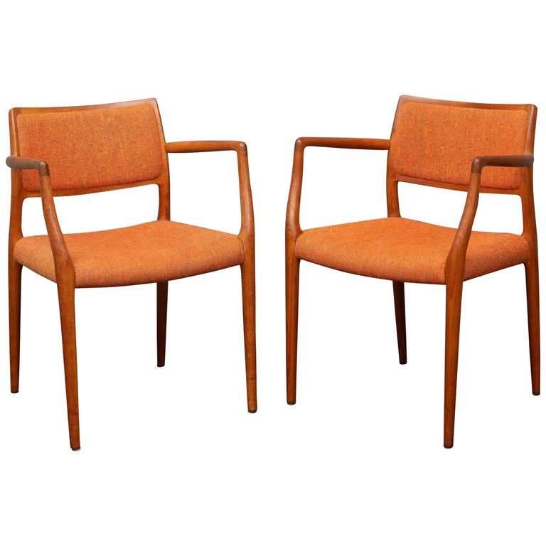 Pair of J.L. Moller Teak Armchairs, Model 80 for Niels Moller For Sale