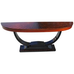 French Art Deco Exotic Macassar Ebony 'Sunburst' Console Tables, circa 1940s