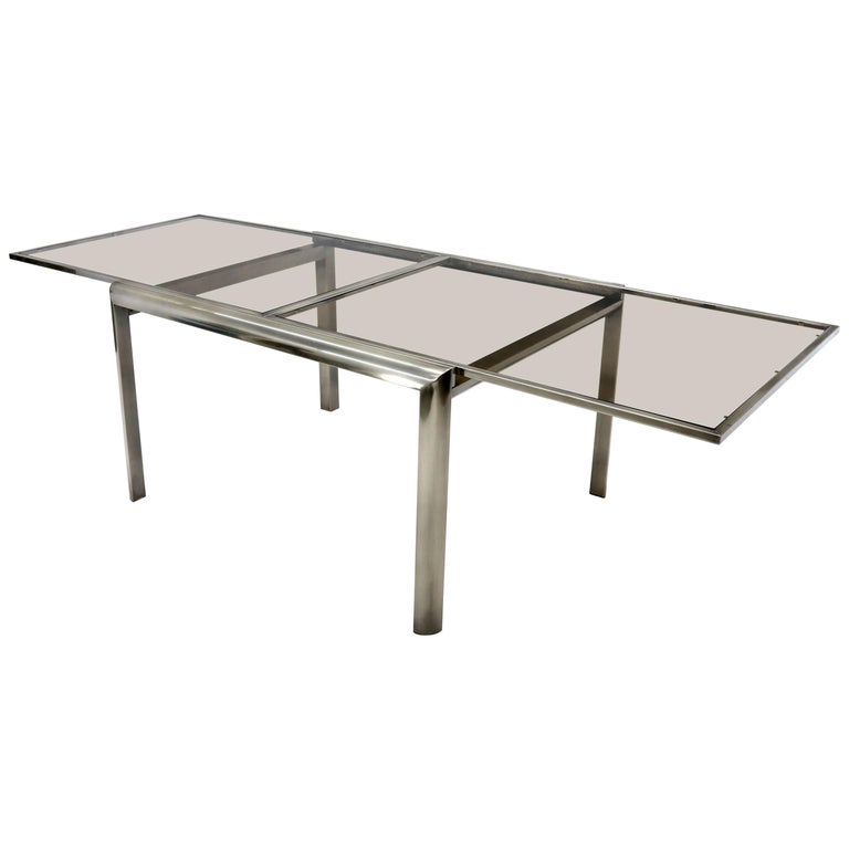 3f1332f35435 Expandable Metal Frame Glass Top Mid-Century Modern Dining Table For Sale
