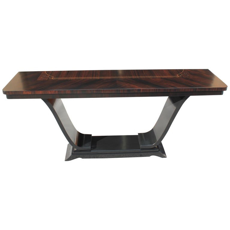 Beautiful French Art Deco Exotic Macassar Ebony Console Tables, circa 1940s For Sale