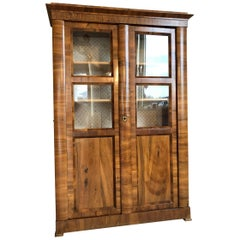 Original Biedermeier Bookcase or Display Cabinet Made of Walnut Wood