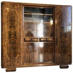 Vintage 1930s Book Cabinet with a Stunning Walnut Grain