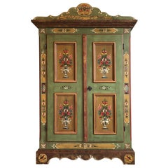 Antique Farmers Cabinet or Wardrobe with Beautiful Painting Works