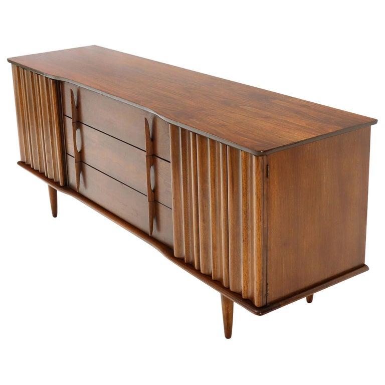 American Walnut Sculptural Front Concave Top Nine Drawers Long Dresser Credenza For Sale