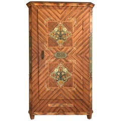 1830s Farmhouse Cabinet or Wardrobe with Hand Painted Floral Details