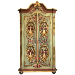 Antique Farmhouse Folk Art Cabinet in Baroque Style