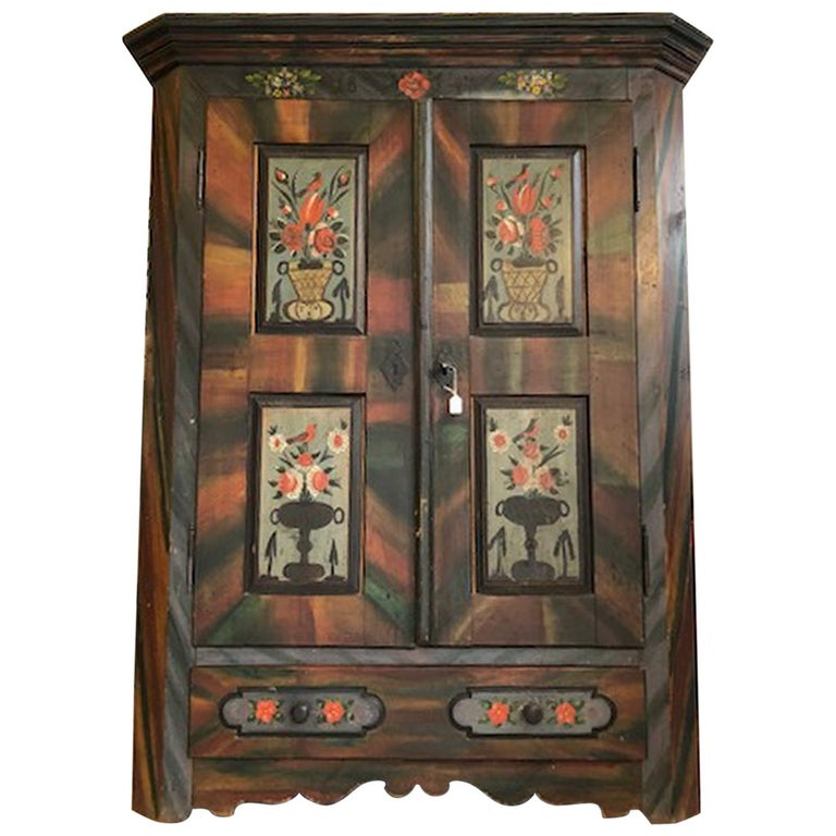 Painted Farmhouse Antique Hall Cabinet or Wardrobe For Sale - Painted Farmhouse Antique Hall Cabinet Or Wardrobe For Sale At 1stdibs